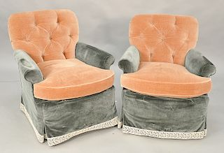 Pair of custom swivel rockers. Provenance: From the Estate of Deborah G. Black of Greenwich, Connecticut