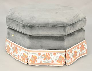 Upholstered ottoman. dia. 37 in. Provenance: From the Estate of Deborah G. Black of Greenwich, Connecticut