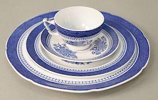 Forty nine piece set of Spode Fitzhugh dinnerware marked Copeland Spodes Fitzhugh Finestone, along with tureen marked Denmark, a blu...