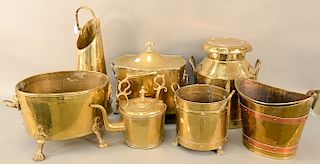 Seven piece brass lot to include milk can, tea pot, buckets, etc. ht. 11 1/2 in. to 24 1/2 in. Provenance: An Estate from Farmington...