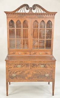 Mahogany Federal style secretary desk with pull out writing surface. ht. 71 in., wd. 39 in.