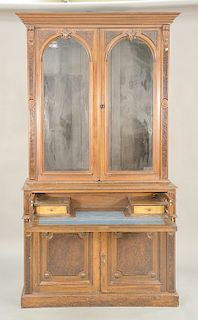 Walnut Victorian bookcase in two parts. ht. 88 1/2 in., wd. 47 in.