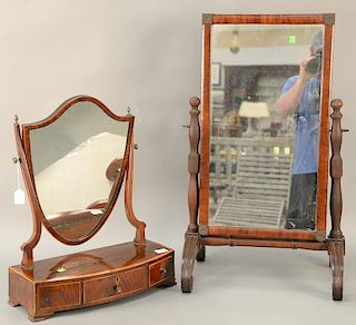 """Two mirrors to include a dresser mirror (33"""" x 20"""") and an inlaid shaving mirror (23 1/2"""" x 18 1/2"""")."""
