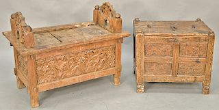 Two early continental boxes with opening tops. ht. 19 1/2 in., wd. 22 1/2 in. and ht. 25 in., wd. 33 in.