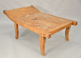 Primitive style wooden lounge. ht. 25 1/2 in., lg. 61 in.