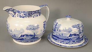 Two piece Spode lot including large pitcher and large covered cheese plate. Provenance: An Estate from Farmington, Connecticut