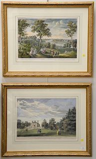 """Two hand colored engravings including one by W. Woollett """"A View of the House and Part of the Garden of His Grace the Duke of Argyll..."""