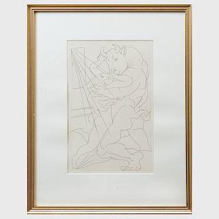 Pablo Picasso (1881-1973): Minotaure Embrassant une Femme