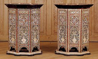LARGE PAIR SYRIAN INLAID TABLES MOTHER OF PEARL