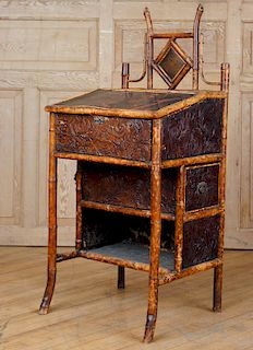 FRENCH LACQUERED BAMBOO LIFT LID DESK C.1880
