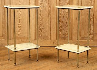 PAIR WHITE MARBLE BRASS TWO TIER SIDE STANDS