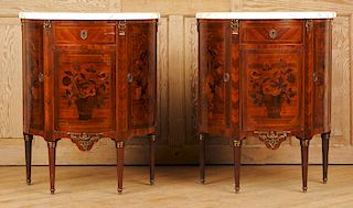 MATCHED PAIR LOUIS XVI INLAID COMMODES 1940