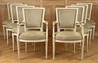 SET 8 FRENCH DINING CHAIRS LOUIS XVI STYLE C.1940