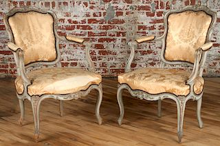 PAIR 19TH C. FRENCH LOUIS XV STYLE FAUTEUILS