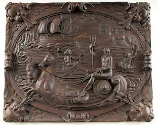 CONTINENTAL CARVED OAK PANEL NEPTUNE C.1900