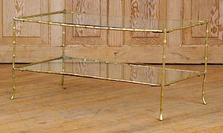 BRONZE GLASS FAUX BAMBOO COFFEE TABLE BY BAGUES