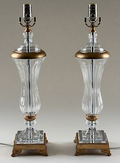 PAIR CRYSTAL ONE-LIGHT TABLE LAMPS