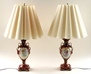 PAIR VINTAGE CHINESE ROCOCO STYLE TABLE LAMPS