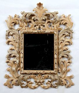CARVED WOOD ITALIAN MIRROR BEVELED PLATE GLASS