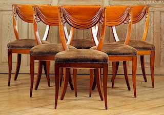 SET 6 ITALIAN SIDE CHAIRS CARVED SWAGS CIRCA 1950