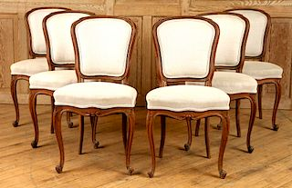 SET 6 FRENCH OAK LOUIS XV STYLE DINING CHAIRS