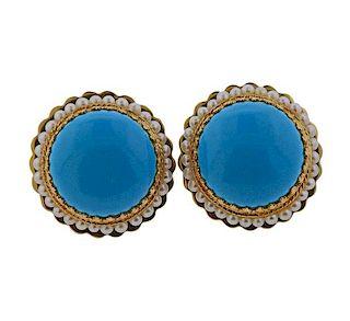 14k Gold Blue Stone Pearl Earrings