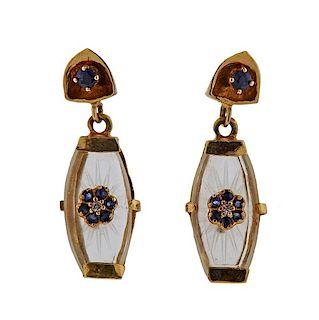 14k Gold Crystal Sapphire Diamond Earrings