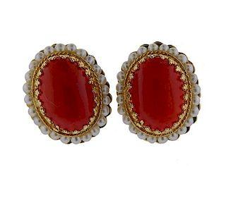 14k Gold Coral Pearl Earrings