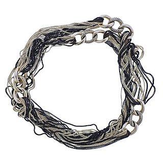 David Yurman Blackened Silver Multi Chain Long Necklace