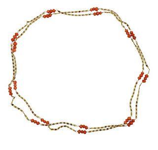 Antique 14k Gold Coral Station Long Necklace