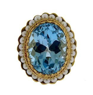 14k Gold Blue Topaz Pearl Ring