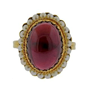 14k Gold Garnet Pearl Ring