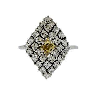 18k Gold Fancy Yellow Diamond Ring