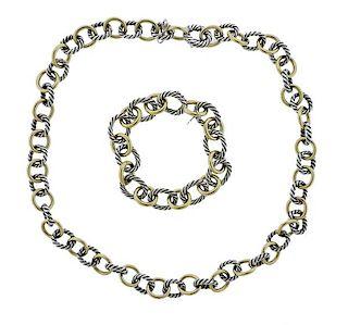 David Yurman Silver Bonded Gold Bracelet Necklace Set