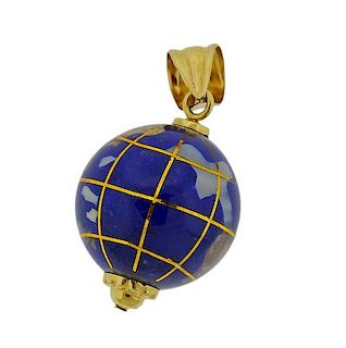18k Gold Enamel Globe Charm Pendant