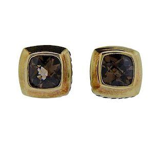 David Yurman Silver 18k Gold Smokey Topaz Albion Earrings