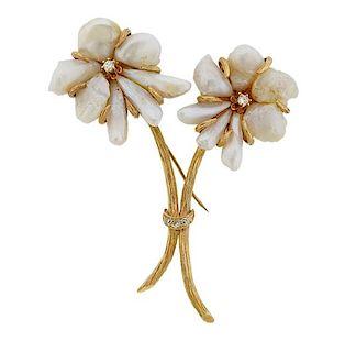 14k Gold Pearl Diamond Flower Brooch Pin