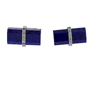 14k Gold Lapis Diamond Cufflinks