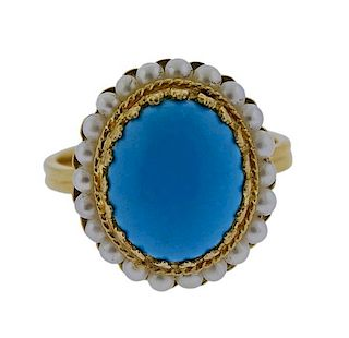 14k Gold Blue Stone Pearl Ring