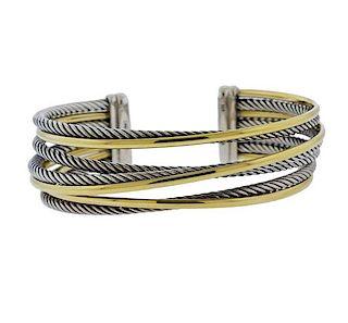 David Yurman Bonded Gold Silver Crossover Cable Bracelet