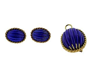 18k Gold Carved Lapis Pendant Brooch Earrings