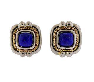 Tiffany & Co 18k Gold Silver Lapis Earrings