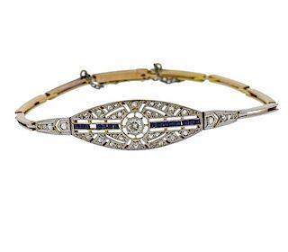 Art Deco Platinum 18k Gold Diamond Bracelet