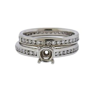 Platinum Diamond Engagement Wedding Ring Seting