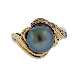 14k Gold Tahitian Pearl Diamond Ring
