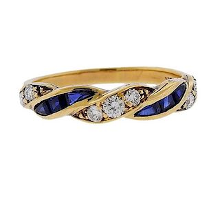 Tiffany & Co 18k Gold Diamond Sapphire Ring