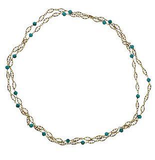 Antique 14k Gold Station Long Necklace