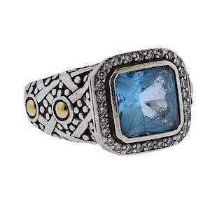 John Hardy Silver 18k Gold Blue Topaz Diamond Ring