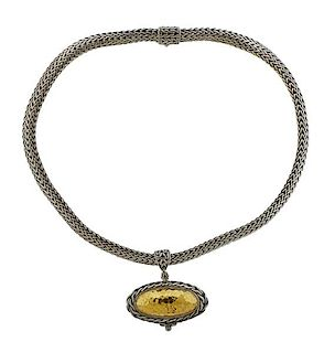 John Hardy 22k Gold Silver Pendant Classic Chain Necklace