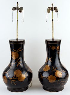PAIR LARGE LACQUERED TABLE LAMPS CIRCA 1960